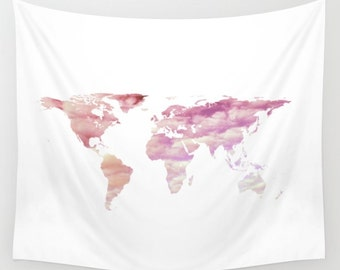 Cotton Candy Sky World Map Tapestry, Pink Cloud, Nature, Art Tapestry, White Large Wall Decor, Dorm, Office, Cloudy Sky Tapestry, Dreamy