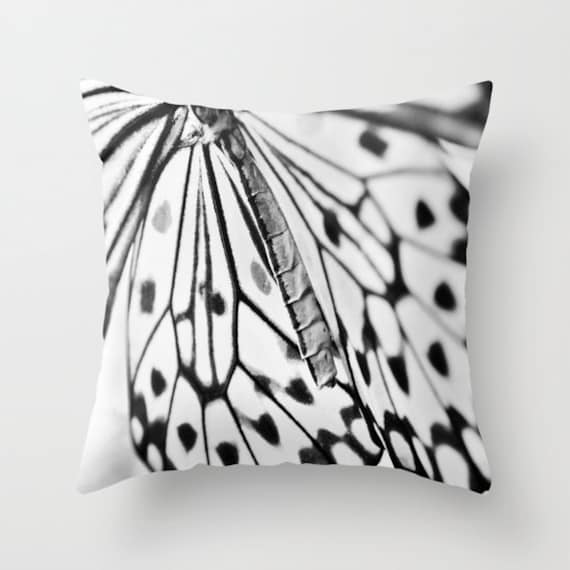 BUTTERFLY WINGS Throw Pillow,Black White Pillow, Decorative, Office, Nature Cushion, Whimsical Pillow, Dreamy, Contemporary, Modern, Dorm
