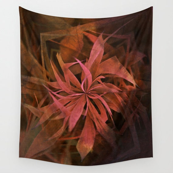 Elements, Fire Wall Tapestry, Large Flower Wall Art, Flower, Pink Orange, Floral, Office, Modern Decor, Nature, Abstract, Dorm, Contemporary