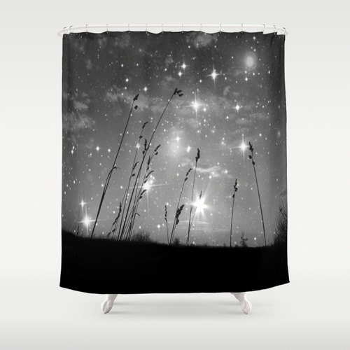 Starry Night Shower Curtain Stars Bathroom Black And White Home Decor Grass Drama Calm Nature Whimsical Sky Noir