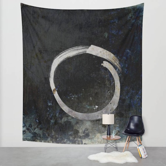 Enso Tapestry, Ghost, Zen, Black, Ink Painting, Buddhism Large Wall Decor, Japanese Art Tapestry, Symbolism, Spirit Mind, Dorm, Office, boho