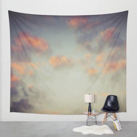 Sunset Sky Wall Tapestry, Cloud Large Size Wall Art, Modern Decor, Nature, Wedding Gift, Outdoor, Garden, Orange Gray, Office, Dorm Art