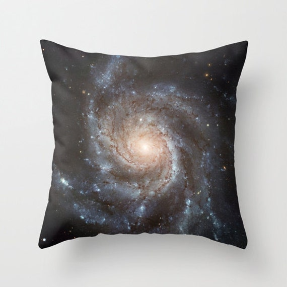 Spiral Galaxy Throw Pillow, Space Decorative Pillow, Nature Cushion, Black Pillow, Steam-punk, Dorm, Office, Messier 77, Stars, Planets