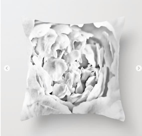 Peony Throw Pillow, Black and White Decorative Pillow, Cover, Cushion, Wedding Gift, Flower Pillow, Petals, Nature, Floral, Office, Dorm