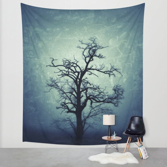 My Darkest Hour In The Night.. Tree Wall Tapestry, Tree Home Decor, Nature Tapestry, Office, Tree Branches, Goth, Noir, Steampunk, Dark