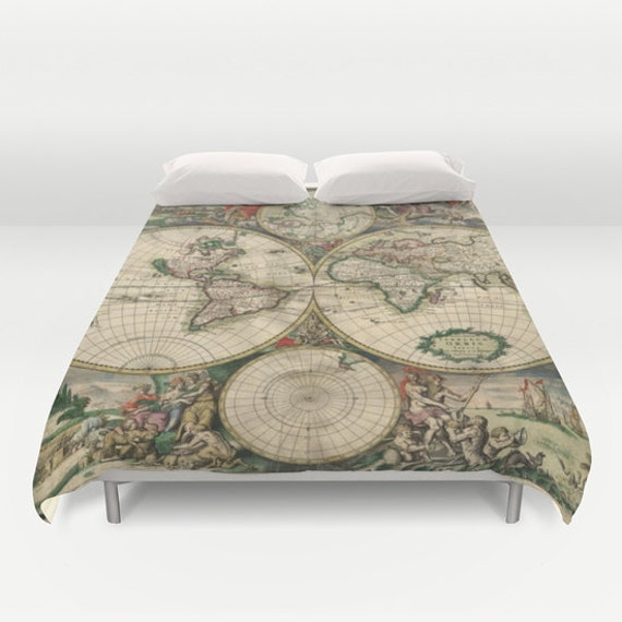 Old World Map Duvet Cover, Vintage World Map Bedding, Map Bedspread Cover,  Decorative, Unique, Blanket Cover, Dorm Bedding, Guest Room