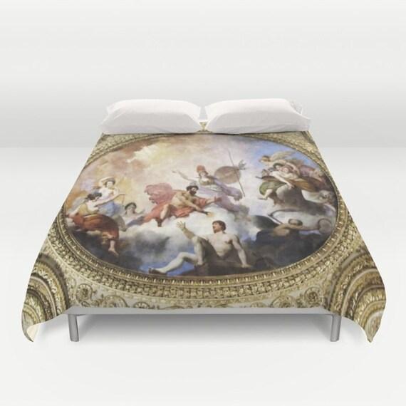 Fresco Duvet Cover, Mythology Decorative bedding, Painting Decor, unique design, Rich bedding, Elite Decor, Vintage Style,French Style decor