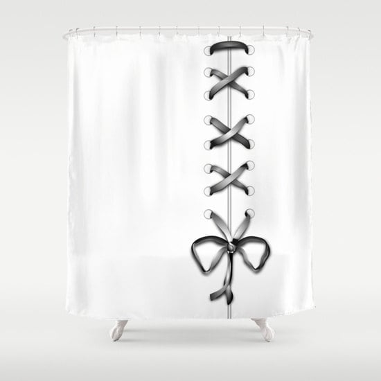 White Laced Shower Curtain Grey Ribbon Bathroom Decor Modern