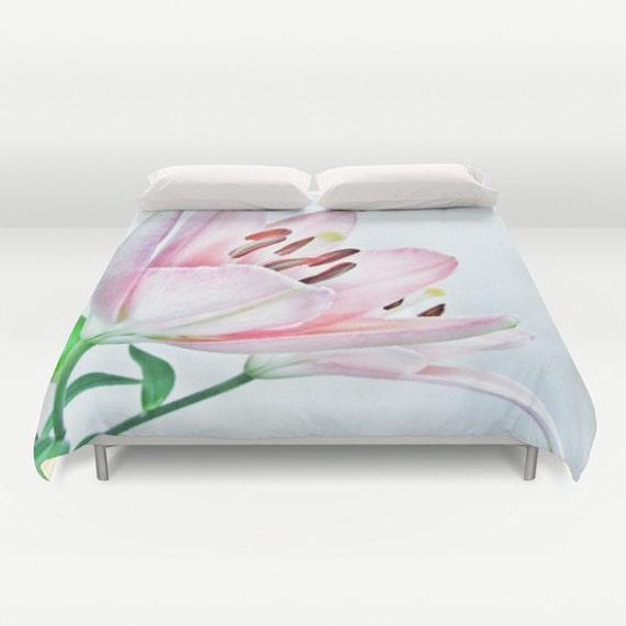 Lily Duvet Cover, Lily Bedding, Flower bedding, Pink Decor, Nature, Dorm, Floral,Beach, Summer, Flower Duvet Cover, Twin, Full, Queen, King
