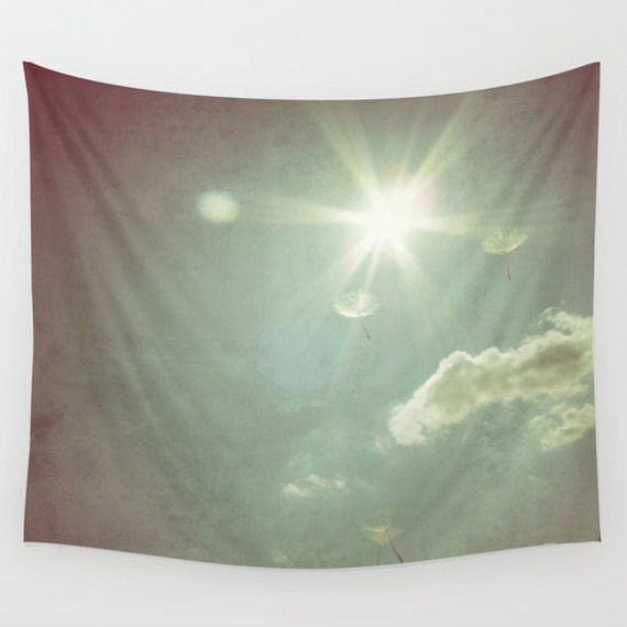 Flying Wishes, Wall Tapestry, Wall Art, Fine Art Photography, Modern, Home, Nature, Dandelion, Dorm, Office,Outdoor, Garden, Sun, Sunny, Sky
