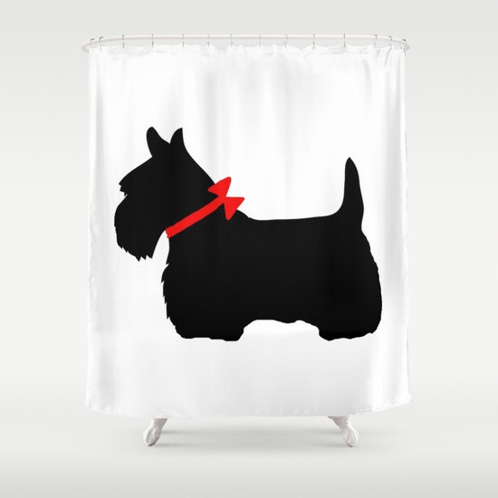 . Scotty Dog Shower Curtain  Scottie Dog Bathroom Decor  Modern