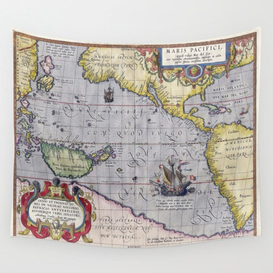 Antique World Map Tapestry.Antique World Map Wall Tapestry Vintage Map Large Size Wall Art