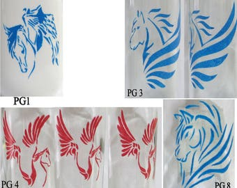 CUSTOM ORDER for Hand painted pegasus designs for glass(es)