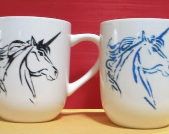 Hand painted unicorn coffee cups - set of 2
