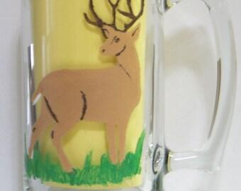 Hand painted deer beer mug tumbler