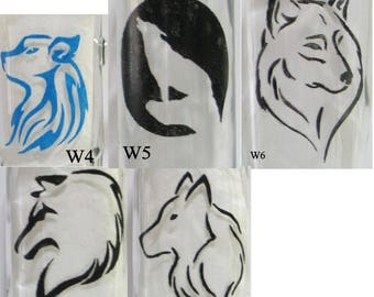 CUSTOM ORDER for Hand painted wolf glass(es)