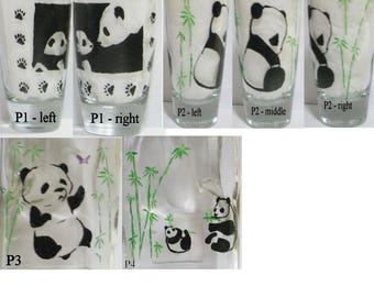 CUSTOM ORDER for Hand painted panda glass(es)