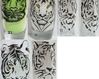 CUSTOM ORDER for Hand painted tiger glass(es)