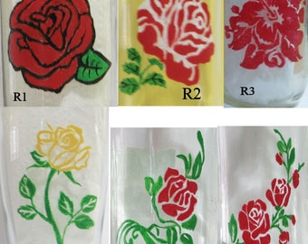 CUSTOM ORDER for Hand painted rose designs for glass(es)