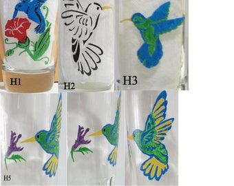 CUSTOM ORDER for Hand painted hummingbird glass(es)