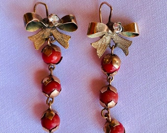 Vintage Coral, Diamond and 12K Gold Earrings, Oaxaca, Mexico