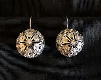 "Sterling Silver Filigree Earrings from Adriatic Coast, 3/4"" diameter, 1"" drop"
