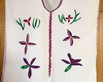Hand Embroidered Blouse, Floral Design, 100% Cotton, Oaxaca, Mexico
