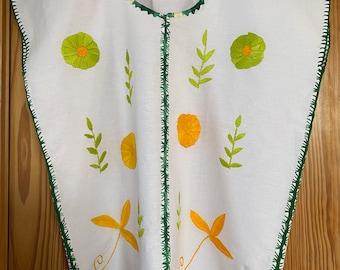 Cotton Embroidered Blouse, Floral Design, Handmade, Oaxaca, Mexico, Multi-color Size Mr