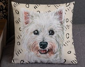 Premium Westie Pillow | West Highland White Terrier Pillow | Decorative Dog Cushion | Westie Throw Pillow | Dog Lover gift