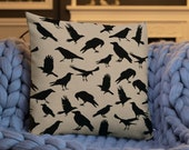 Premium Crow Pillow | Black Crow Pillow | Crow Cushion | Crow Throw Pillow