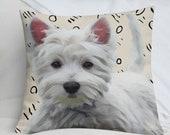 Premium Westie Pillow | West Highland White Terrier Pillow | Decorative Dog Cushion | Westie Throw Pillow