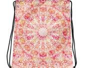 Pink Mandala Drawstring bag | Backpack | Zen Gifts for Hippies | Gym bag