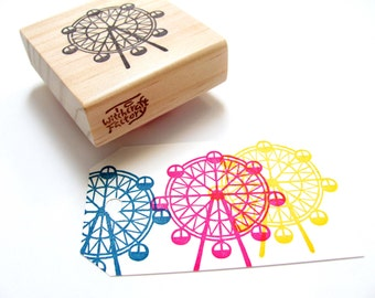 Ferris Wheel Hand Carved Rubber Stamp