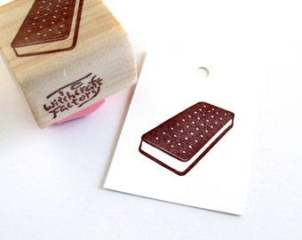Hand Carved Rubber Stamp, Ice Cream Sandwich