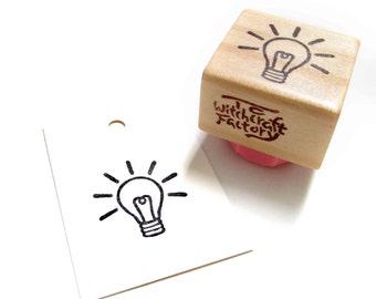Good Idea Light Bulb, Hand Carved Rubber Stamp