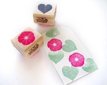 Morning Glory set of 2, Hand Carved Rubber Stamp