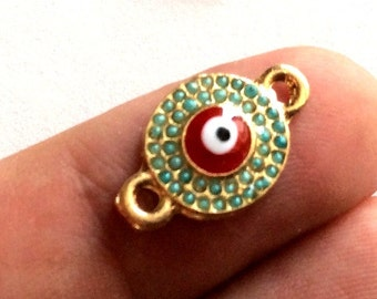 1pc- Matte Gold Plated Matte bead  Evil Eye Connector-18x12mm-(017-057GP)