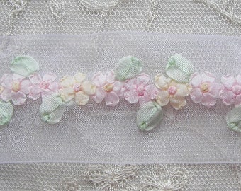 1 Yard Hand Embroidered Rose MAUVE Organza Ribbon Trim PINK Sequin Glass Beaded Flower Antique Vintage Baby Doll Christening Gown