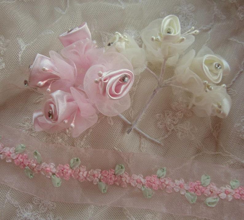 36 pc IVORY PINK Wired Satin Organza Rose Rhinestone Beaded Flower Applique Bridal Wedding Bouquet