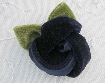 2 pc Navy Blue Velvet Rose Flower Baby Bow w leaves leaf for bridal couture corsage headband home decor