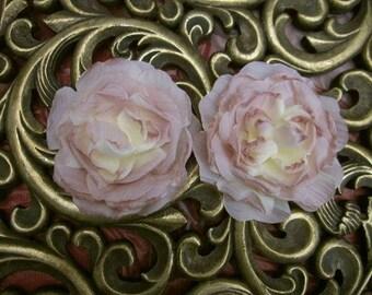 2pc Antique Mauve Cream Cabbage Rose Fabric Flower Applique Crinkle Victorian Hat Corsage