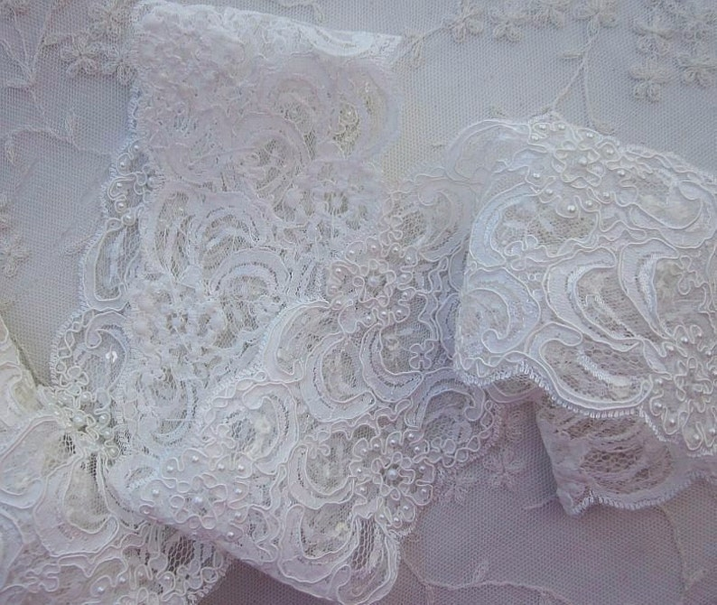 1 YD 26 INCHES Beaded Lace Trim WHITE Embellished Pearls Sequins Flower Bridal Veil Gown Christening Dress Embroidered Organza Doll