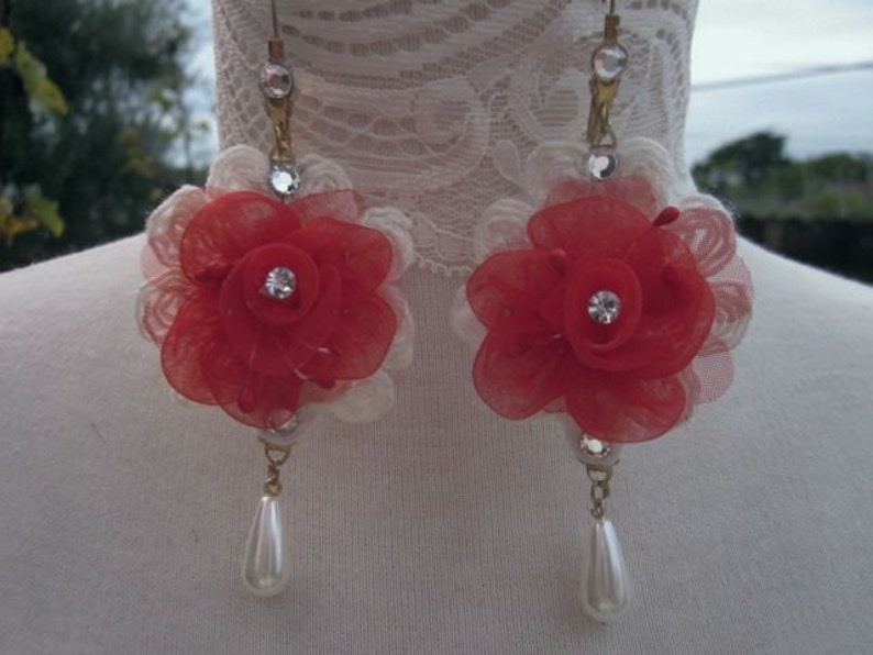 RED Christmas Earring Rhinestone Beaded Organza Rose Flower Pearl Drop Lace Bridal Wedding Original Design Valentines Day