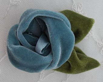 2 pc Teal Velvet Rose Flower Baby Bow w leaves leaf for bridal couture corsage headband home decor