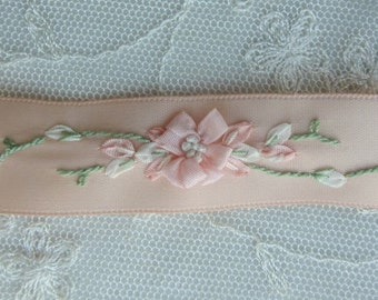 1 YARD Hand Embroidered Peach Satin Ribbon Flower Trim Baby Doll Christening Gown