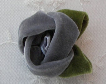 2 pc Gray Velvet Rose Flower Baby Bow w leaves leaf for bridal couture corsage headband home decor