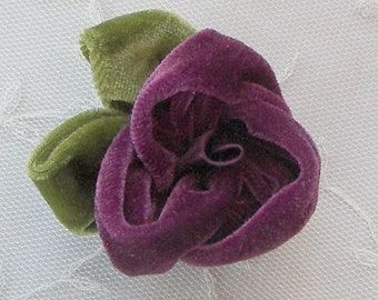 Velvet Fabric Rose Flower 2 pc Eggplant Baby Bow w Leaves Bridal Couture Corsage