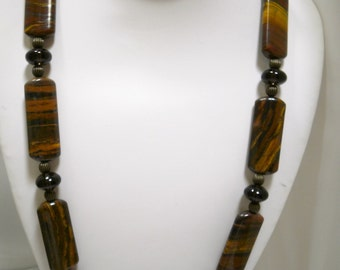 Tiger eye Chick-let and Smoky Quartz Necklace