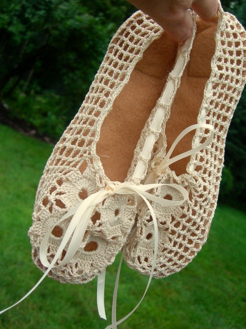 Crochet Ballet Flats Elegant Handmade Ballet Flats With Suede Etsy