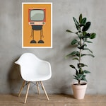 Custom Size - Mike Slobot - SIGNED - Midcentury Inspired TV Robot Art 4 - Illustration Minimal Design Space Age Modern Pop Poster